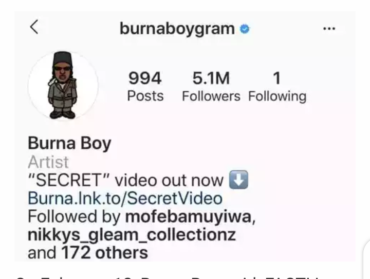 Burna Boy Unfollows Everyone He Follows On Instagram & See Some Twitter Reaction